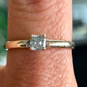 14k Gold 0.30 Ct Asscher Cut Diamond Ring